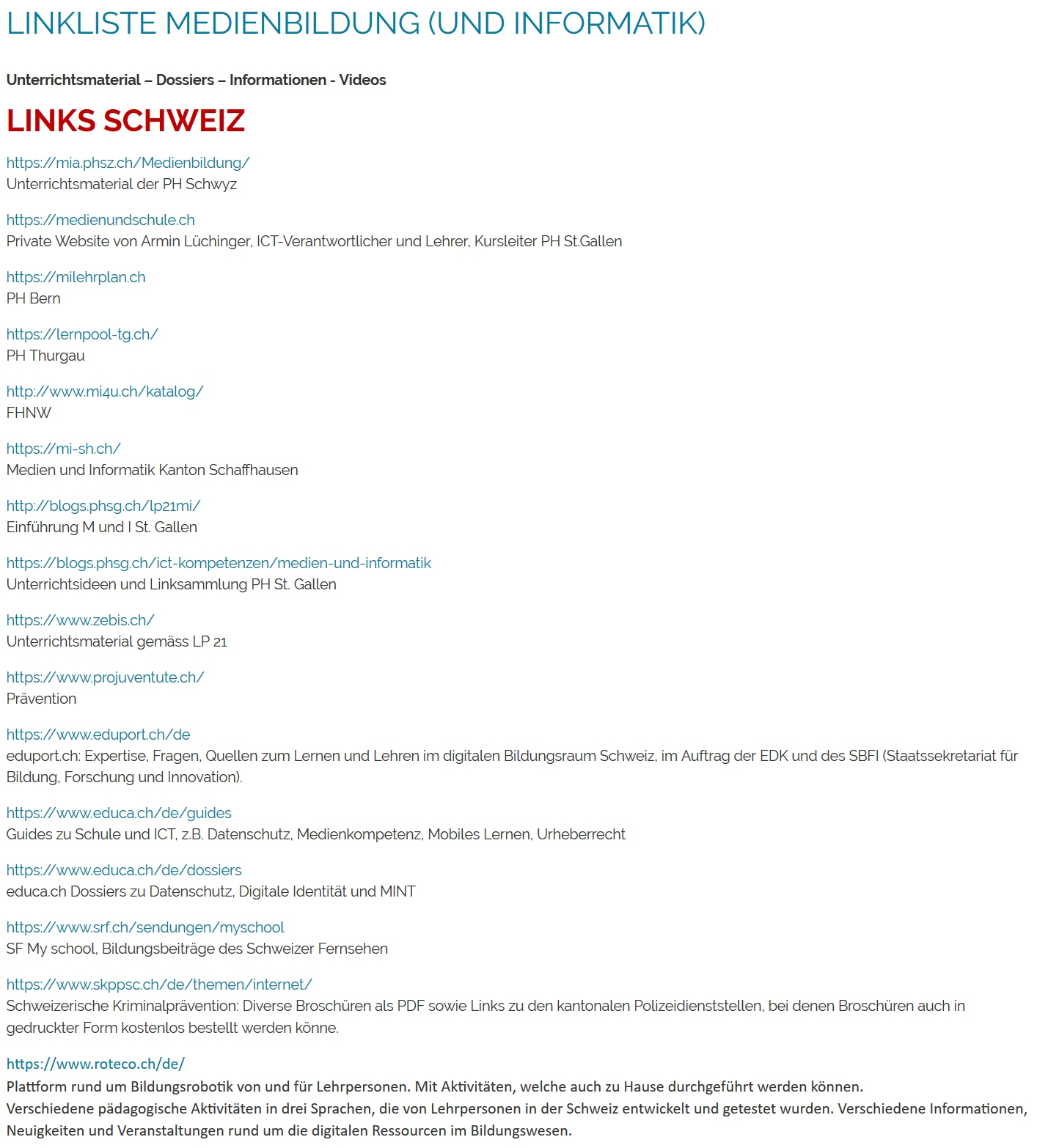 Linkliste Medienbildung Screenshot